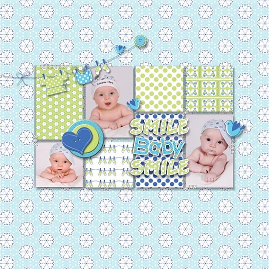 Baby  layout made with  Baby Boy Scrapbook Kit by DigiScrapDelights,