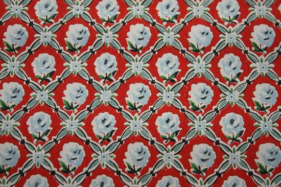 1950's Vintage Wallpaper Red with blue roses by HannahsTreasures, $14.00   Her wallpapers will end up somewhere in my home, even if it ends up being the inside of cabinets and closets!