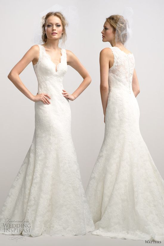"""Watters fall 2012 sleeveless lace fit flare wedding dress v neck"" pretty!!"