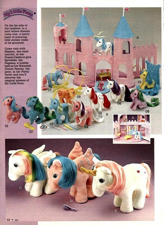 My Little Pony toys from a 1984 catalog. #1980s #toys www.retrowaste.co...