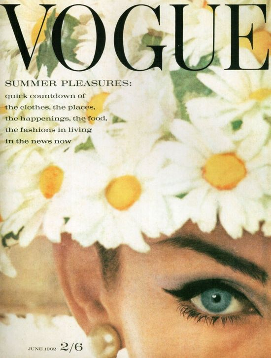 Vogue UK cover photographed by David Bailey, June 1962