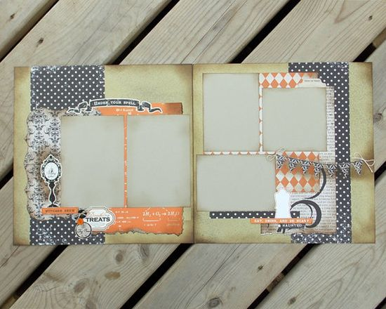12x12 Premade Scrapbook Pages - Halloween - Trick or Treat - Double Page Layout - Apothecary Theme