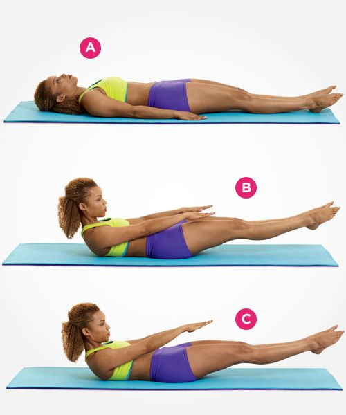 Repin this as a reminder to repeat the Pilates move pictured. Why? This challenging move can help tighten your abs, pronto: www.womenshealthm...