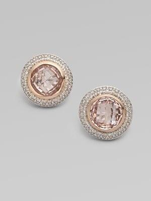 David Yurman Diamond Accented 18K Rose Gold Morganite Button Earrings