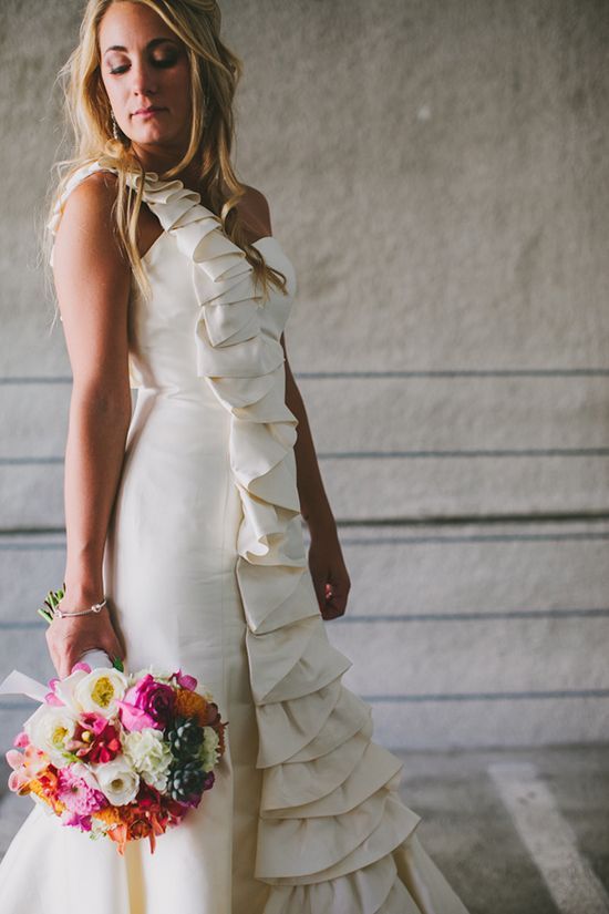 ruffled wedding gown // photo by Jackie Wonders // ruffledblog.com/...