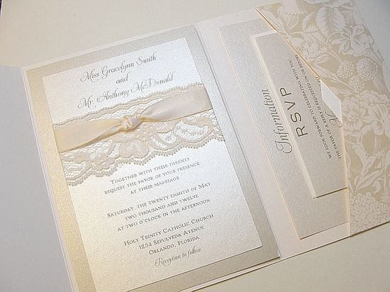 Vintage Lace Wrapped Wedding Invitation
