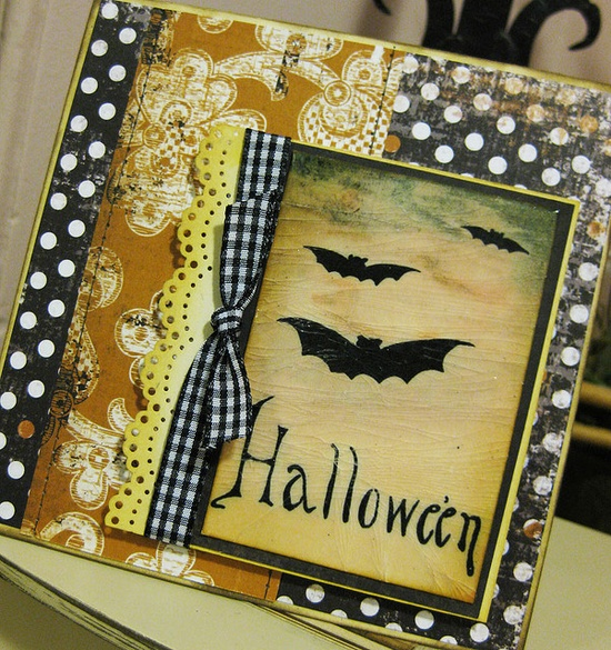 Antique Bats Handmade Halloween Card