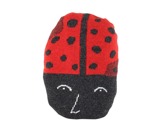 Lacy the Ladybug - soft knitted pillow, toy.