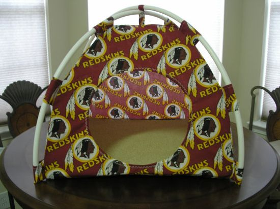 $28.00 Large Handmade Washington Redskins Pup Tent Pet Bed For Cats / Dogs / Ferrets / Piggies Or Used For A Toy Box / Barbie Doll House