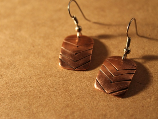 Talon // handmade copper drop earrings - minimal everyday geo jewelry. $36.00, via Etsy.