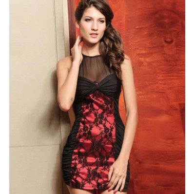 Black Red Mesh Lace Ruched Party Dress