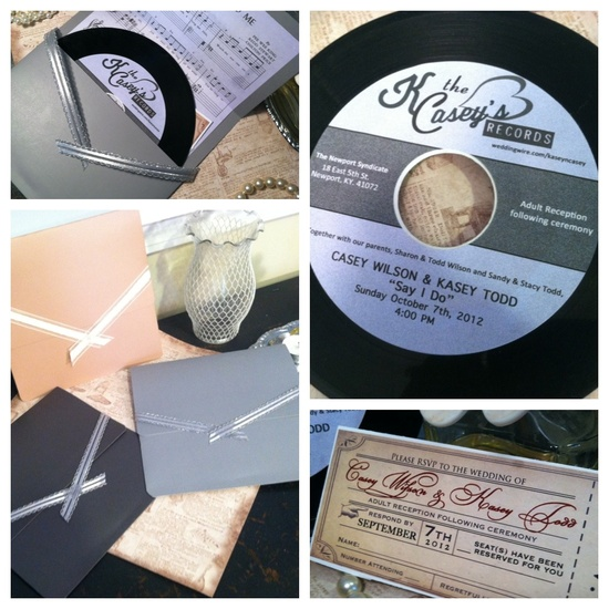 Our handmade invites on real 45 records.