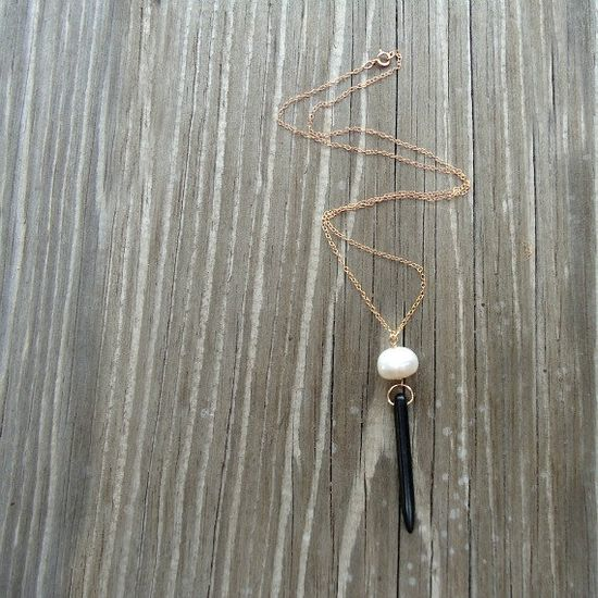 Black and White Necklace Gold Jewelery Spike by jewelrybycarmal, $32.00