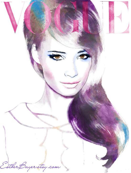 Amethyst and Amber  Watercolor Fashion Illustration by EstherBayer, $32.50