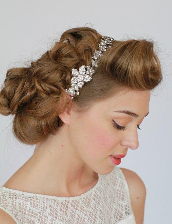 Vintage Style Wedding Headband Vintage Ribbon by LavenderByJurgita, $89.00