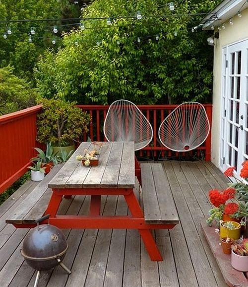 Porch with orange accents