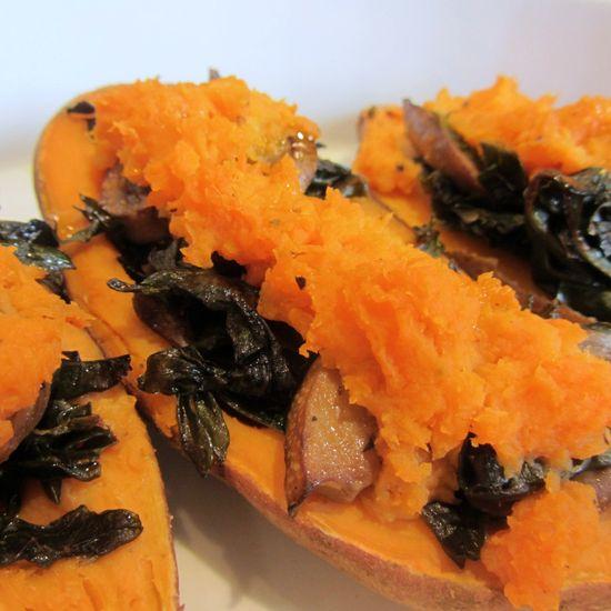 Kale and Mushroom Stuffed Sweet Potatoes