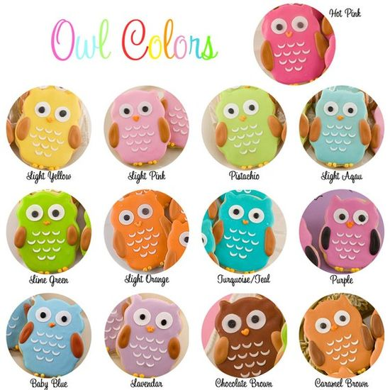 Owl Cookie Favors  3 Dozen Decorated Sugar Cookies by TSCookies, $90.00
