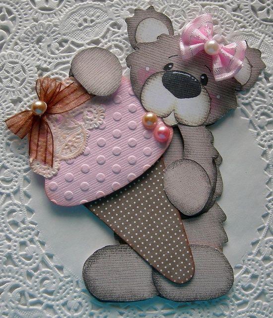 Handmade Ice Cream Cone Bear Embellishment by sarasscrappin, via #radiohead creep #bc rich handmade #oyin handmade review