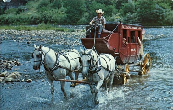 T.L.T. Stagecoach ride crossing Greenbrier River Cass, West Virginia (near Cass Scenic Railroad)