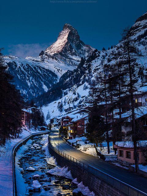 Winters Night, The Alps, Switzerland