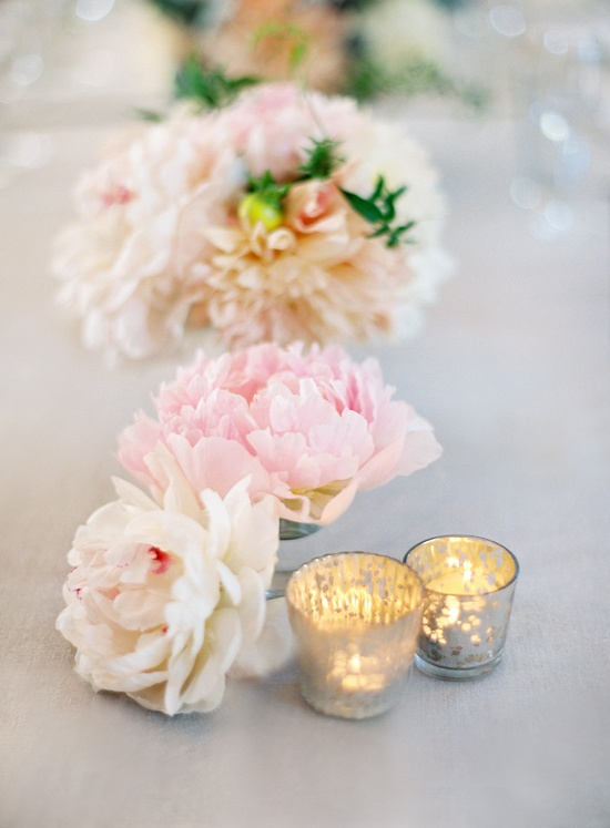 Love these little mercury glass votives sprinkled throughout the tables! Photography by josevillaphoto.com, Event Design by joydevivre.net, Floral Design by florettedesigns.com