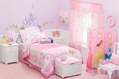 Choose from many decorating ideas for your girl's bedroom; painted walls, pink curtains, play beds, Disney wall prints, and sheer fabric bed decorations.