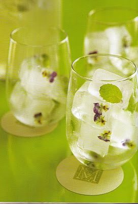 edible flowers in ice cubes...cute touch