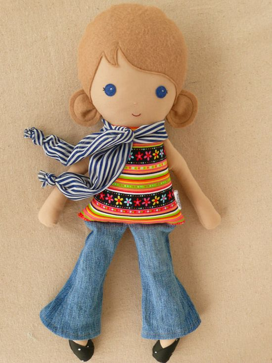Fabric Doll Rag Doll Girl in Colorful Top, Jeans, and Scarf