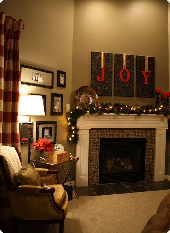 JOY Christmas mantel!