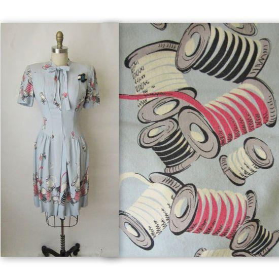 40's Novelty Print Spools Dress