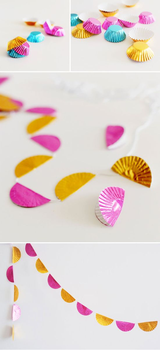 These awesome garlands are made from cupcake liners!