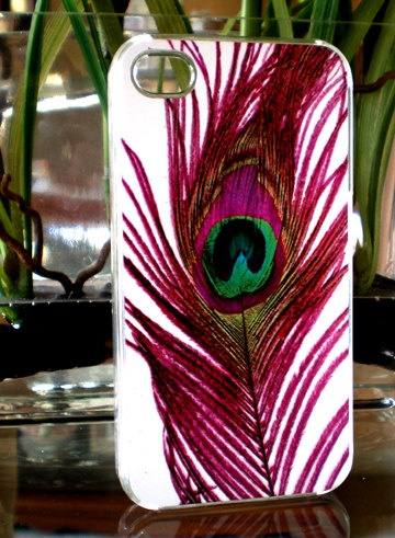 Peacock Purple Fuchsia Feather Iphone 4 Hard Case by TheCaseDepot,