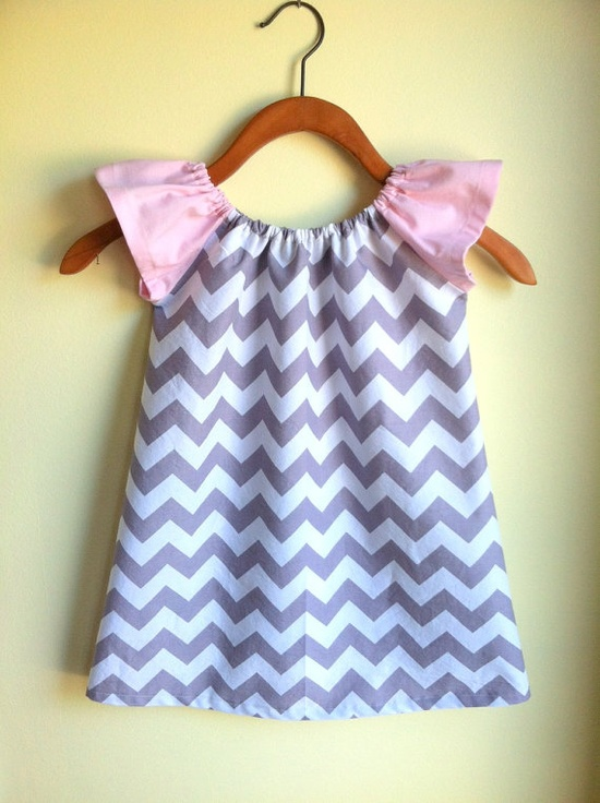 pink and gray chevron - peasant dress perfect for spring and summer - handmade modern clothing by noah and lilah