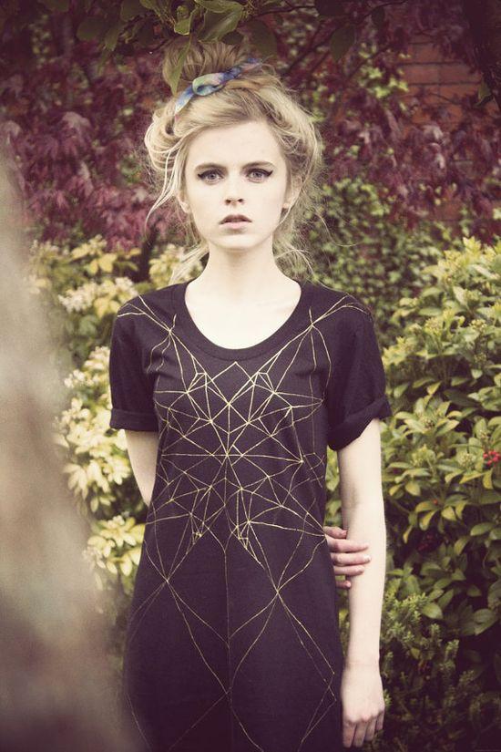 bleach on black {Hand painted geometric dress}