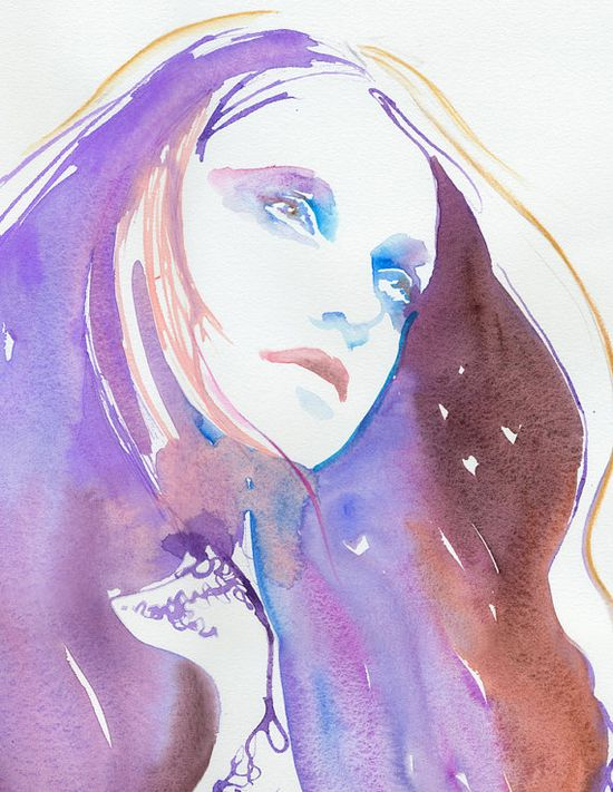 Watercolor Fashion Illustration Painting    Winter by cateparr