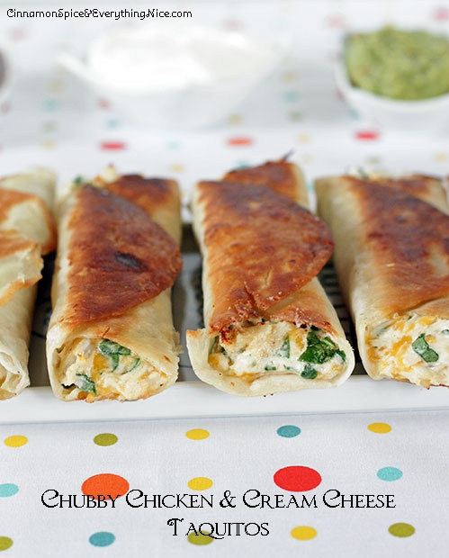 Chubby Chicken and Cream Cheese Taquitos ~ Tortillas rolled with a shredded chicken, cream cheese, cheddar, salsa and spinach filling...