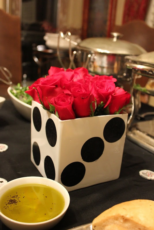 painted square vase to look like dice for a casino party. BUNCO decor