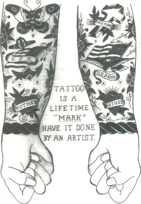 Old tattoo shop advertising card
