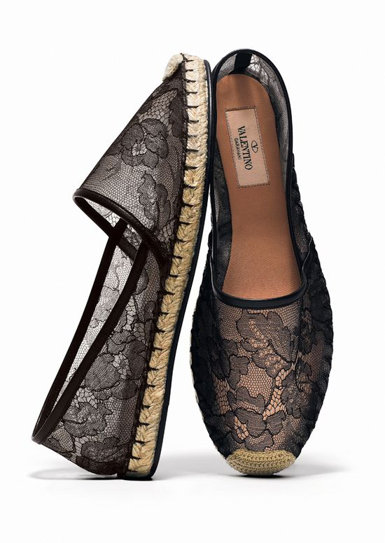 Valentino black lace espadrille.