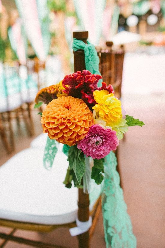love these colors for my bouquets  bright + cheery chair decor for the ceremony // photo by HeAndShePhoto.com // flowers by HoneyAndPoppies.com