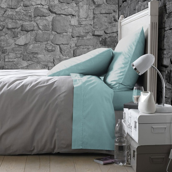 Teal & Grey Bedroom. Textured wallpaper instead of stone wall