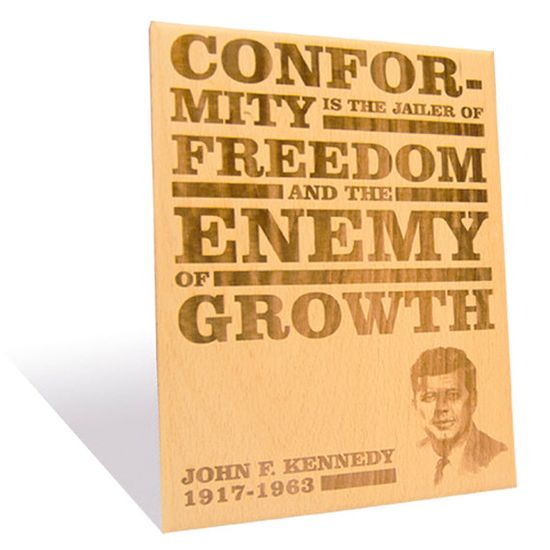 John F. Kennedy's famous quote etched on a Wooden Plaque