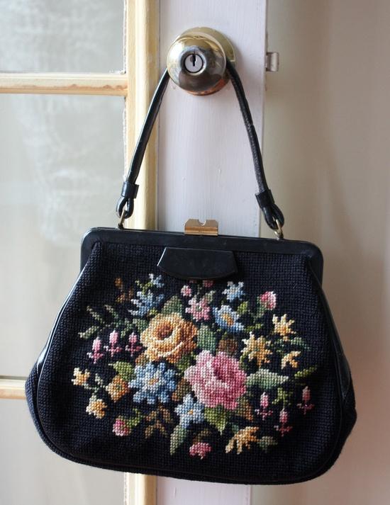 Black Floral Needlepoint Purse. $60.00, via Etsy.