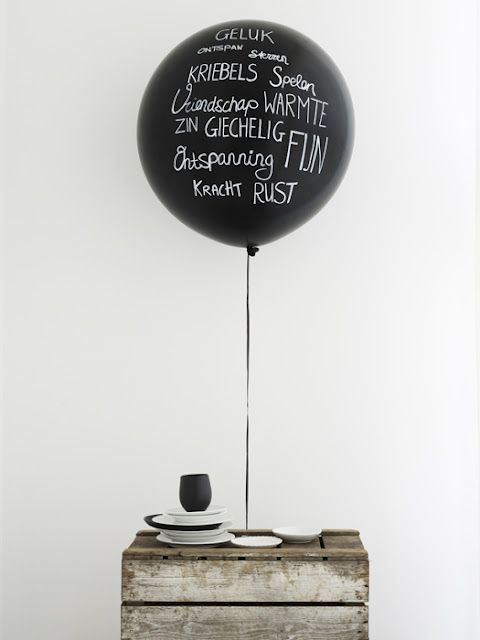 Cute balloon idea - write on a black balloon with white ink