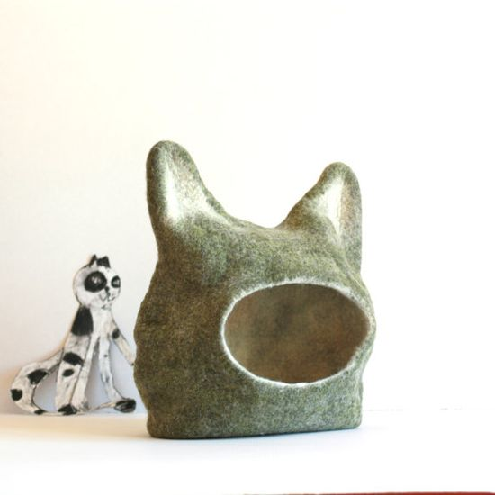 Cat bed - cat cave - cat house - eco-friendly handmade felted wool cat bed - green with natural white - ready to ship via Etsy