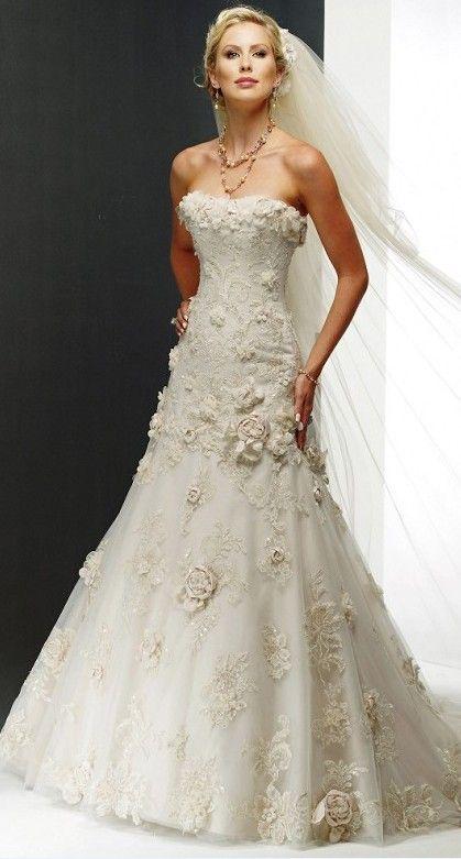 Flowers on Wedding Dress