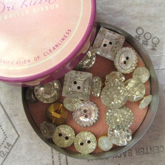 Vintage mirrored glass buttons.