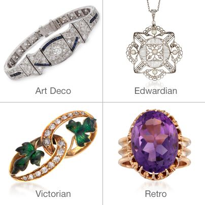 What is Your Favorite Jewelry Era? Retro Jewelry. Art-Deco Jewelry. Victorian Jewelry. Edwardian Jewelry. Art-Nouveau Jewelry. >>Click on the pin to shop our Estate Jewelry collection at Ross-Simons.