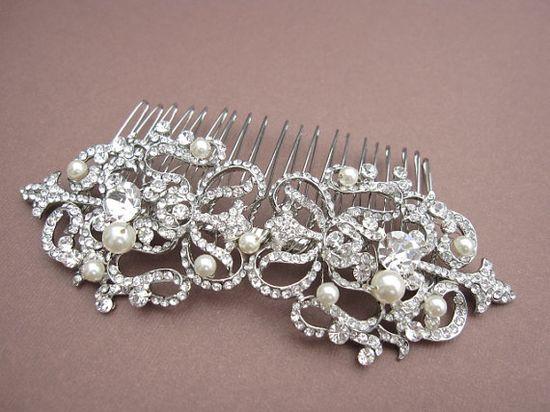 Bridal hair comb  wedding hair accessories rhinestone by Amoretto, $59.00